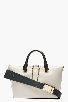 Chloe Grey \u0026amp; Black Leather Baylee Small Tote for women | SSENSE ...