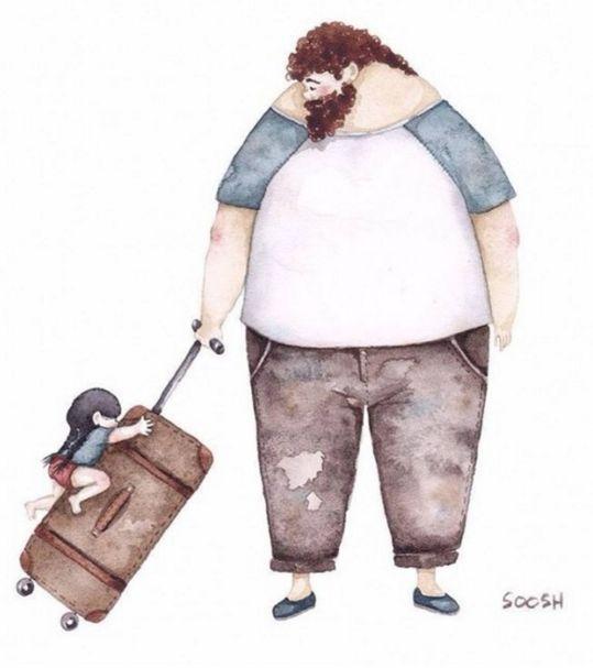Snezhana Soosh es una artista ucraniana de 37 años. famosa por las ilustraciones de padre e hija que ha publicado recientemente en Insta...