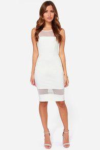 Exclusive Midi Slicker Ivory Dress