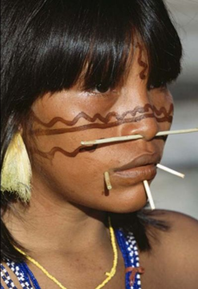 Yanomami woman, Venezuela. This tribe lives along the Amazon.  As a result of encroaching civilization they are endangered.