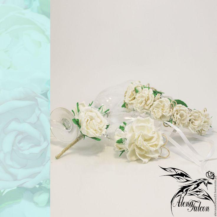 """Купить Свадебные украшения ободок, браслет и бутоньерка """"Белые розы"""" - белый, свадьба, свадебные аксессуары"""
