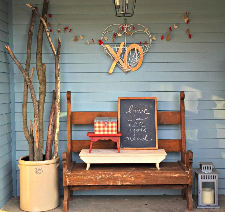 """It was time for my """"Rustic Ski-Lodge Cabin Glam""""front porch to go. After my Friday shopping trip to Applewagon Antique Mall, I found my inspiration -- an old wrought iron heart planter. Ha..."""
