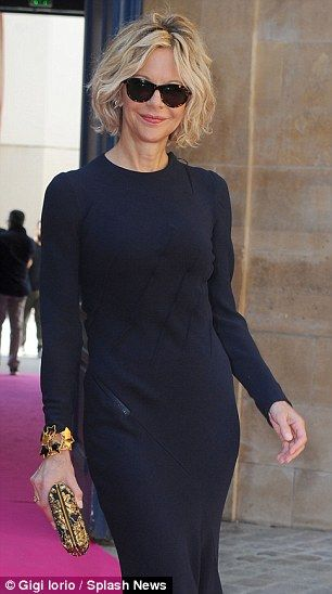 Meg Ryan looks ultra chic in sheer black beaded lace dress #dailymail
