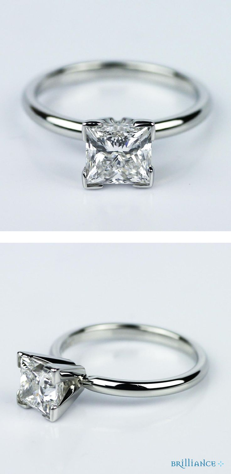 This Princess Cut Diamond Engagement Ring With Solitaire Setting In  Platinum Is On It's Way To