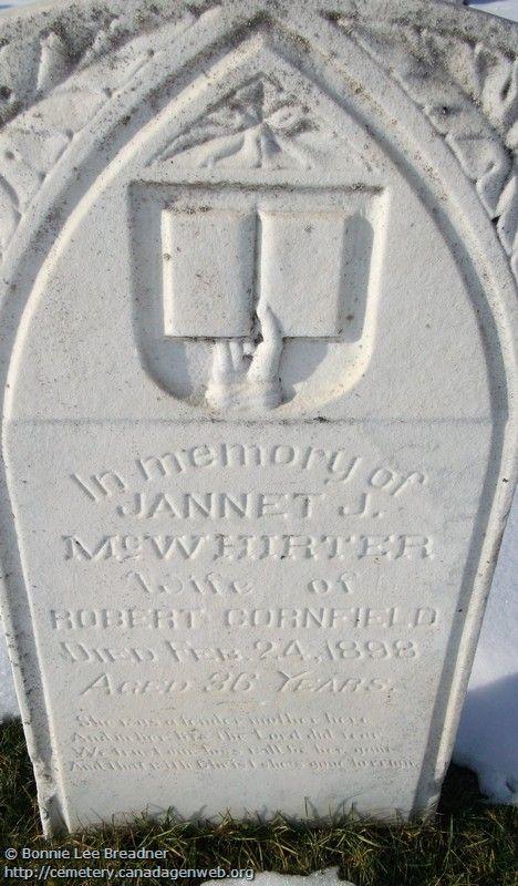 ON: Thornbury & Clarksburg Union Cemetery (Jannet J (McWhirter) CORNFIELD), CanadaGenWeb's Cemetery Project