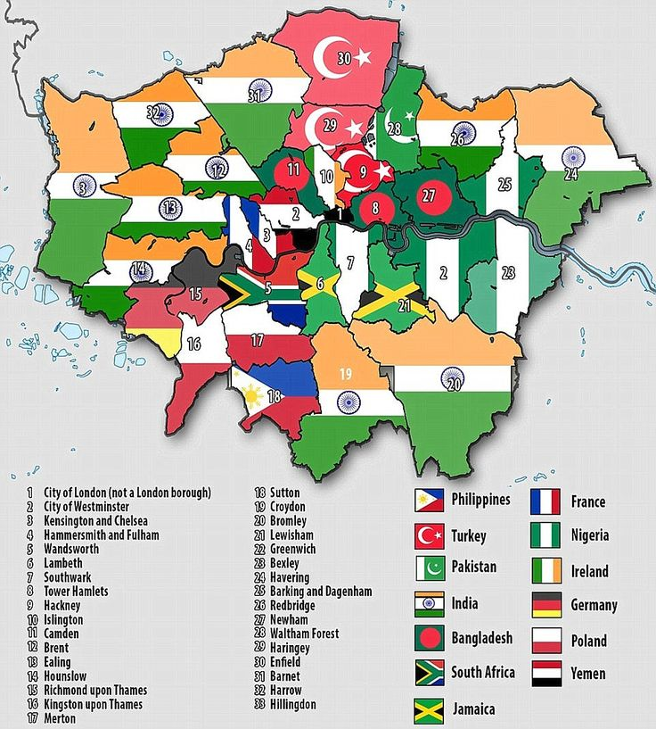 Picture of London: This map shows the largest foreign born populations in London by borough