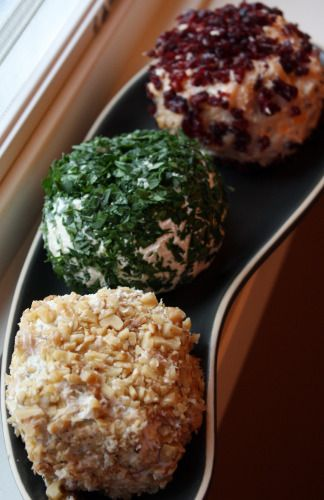 Cheese Balls Three Ways Recipes ~ Cheddar & Cranberry, Roquefort & Walnut and Goat Cheese & Scallions