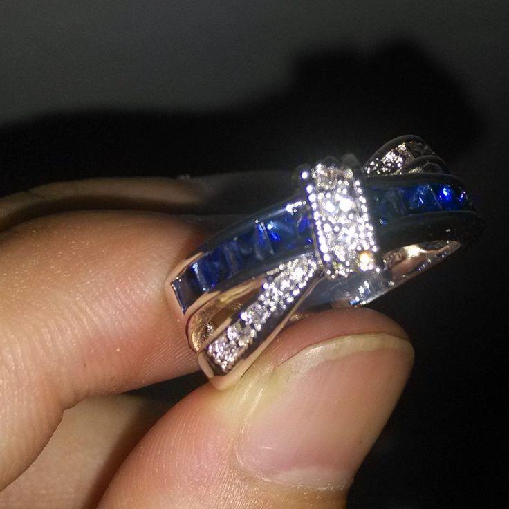 Виктория вик Sz 5-10 коктейль ювелирные изделия повелительницы сапфир и белый топаз стерлингового серебра 925 драгоценный камень кольцо горячая