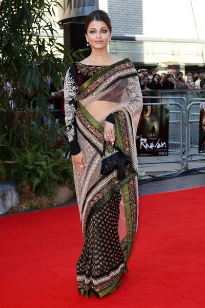 AR3000 -  Aishwarya Rai spotted in Sabysachi saree paired with embroidery saree blouse at Raavan Premiere at London.