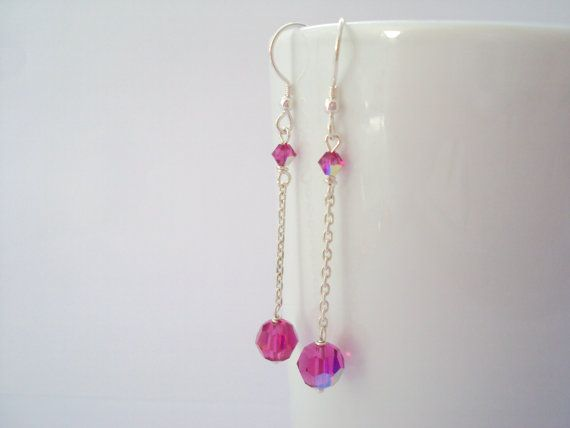 Swarovski Fuchsia Aurora Borealis dangly earrings in sterling silver (925)