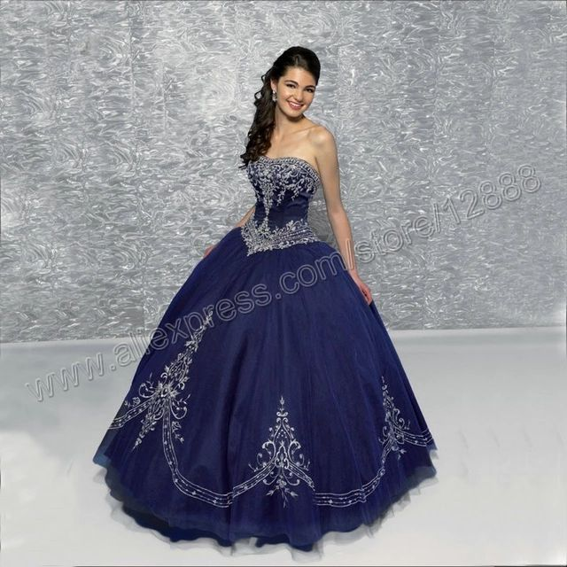 Silver Embroidery Corset Body Ball Gown Hot Free Shipping Navy Blue Quinceanera Dresses Pageant Dress Vestidos De Baile Quinceañera Pinterest
