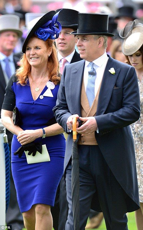 dailymail: Royal Ascot 2015, Day 4, June 19, 2015-Sarah, Duchess of York and the Duke of York followed by Princess Eugenie and her boyfriend Jack Brooksbank