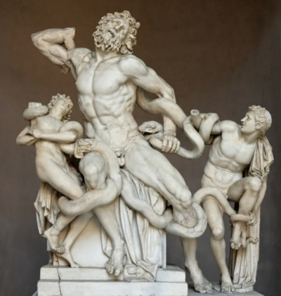 'Laocoon and His Sons' -Ancient Greek art 25BC. White Marble. The statue is attributed to Greek sculptures Agesander, Athenodoros and Polydorus.