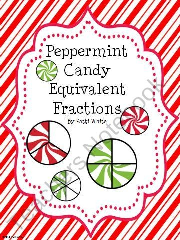 Peppermint Candy Equivalent Fractions from ASeriesof3rdGradeEvents on TeachersNotebook.com (13 pages) - These
