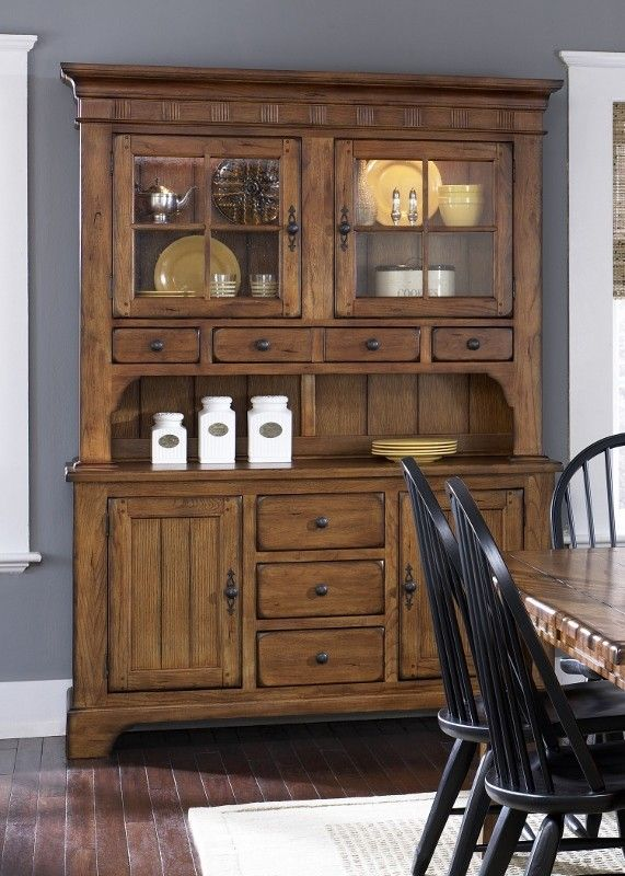 Formal Dining Buffet Hutch Lighted Rustic Oak 5 Piece New