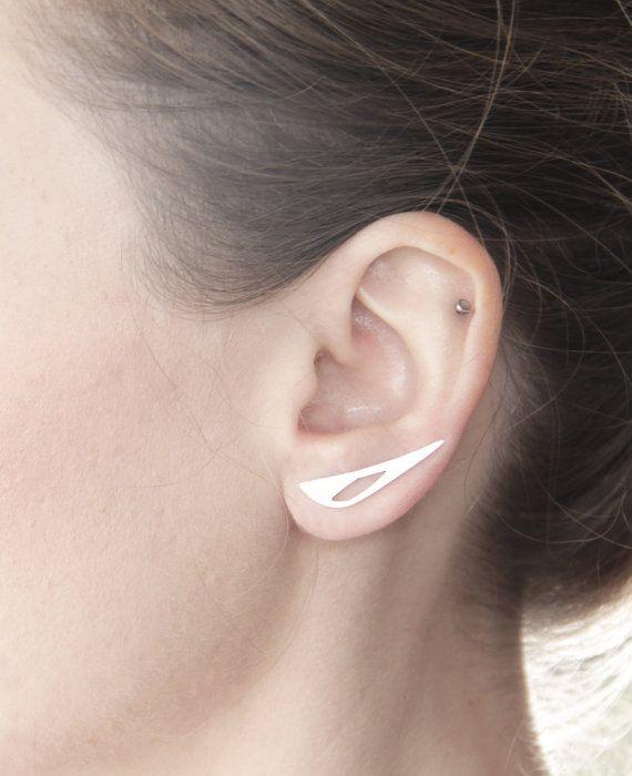 Geometric Cut out Ear Pin - Ear Climber - Ear Cuff - Sterling Silver