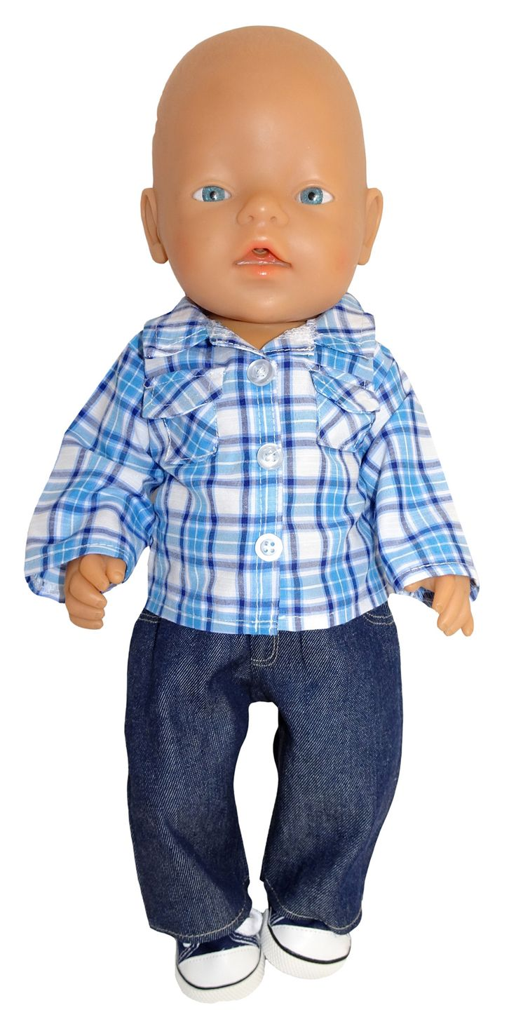 What a great outfit for your doll.  The check shirt can be worn with sleeves long or rolled up for a more casual look.   It fastens at the front with a Velcro strip.  The jeans feature faux pockets, fly and top stitching just like 'real' jeans.  They simply slip on with an elastic waist.