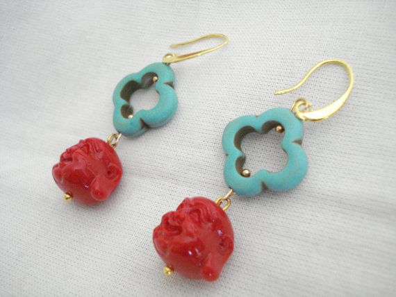 Turquoise clover earrings Red Buddha dangles Quatrefoil by Poppyg