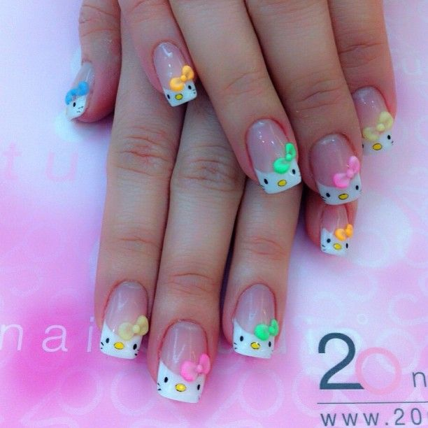 Hello Kitty Tips with Neon Bows!