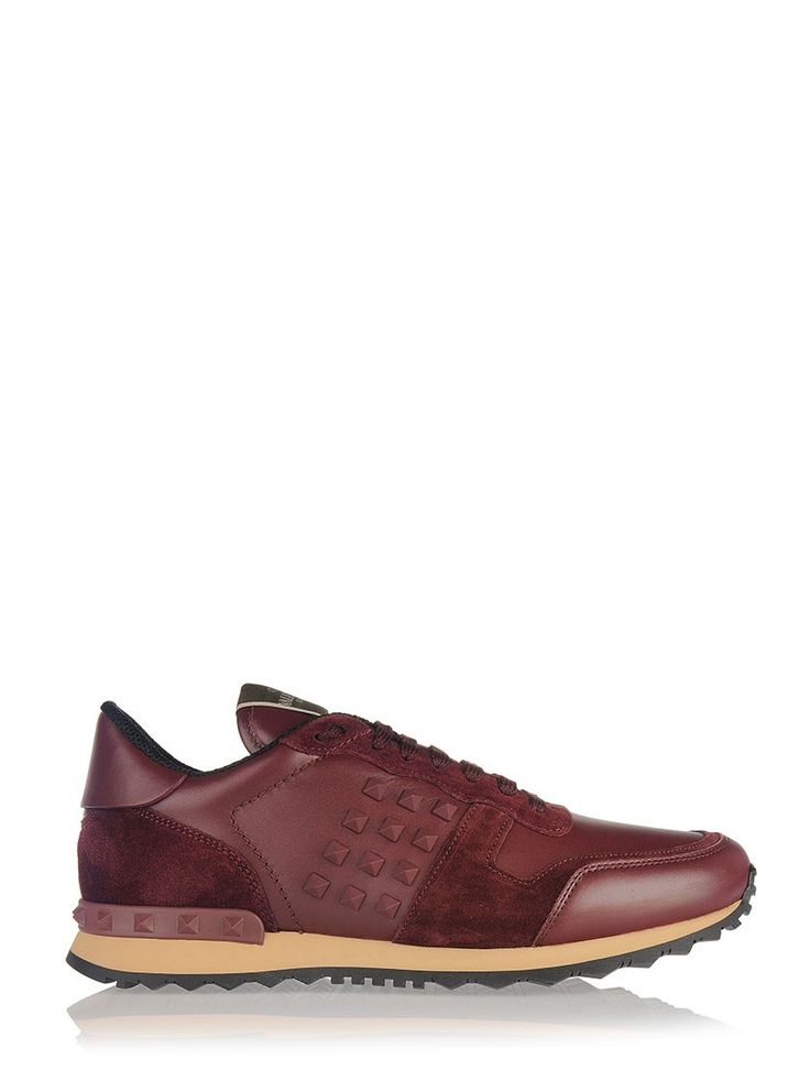 Bordeaux suede and leather icon sneakers by Valentino Garavani with lateral rubber studs.