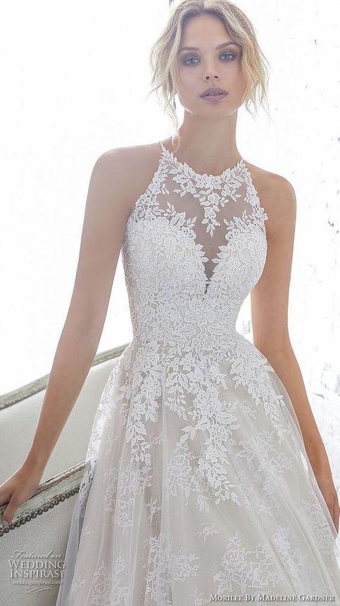 Gorgeous Long White Wedding Dresses backless Wedding Dresses o Neck Wedding Dress