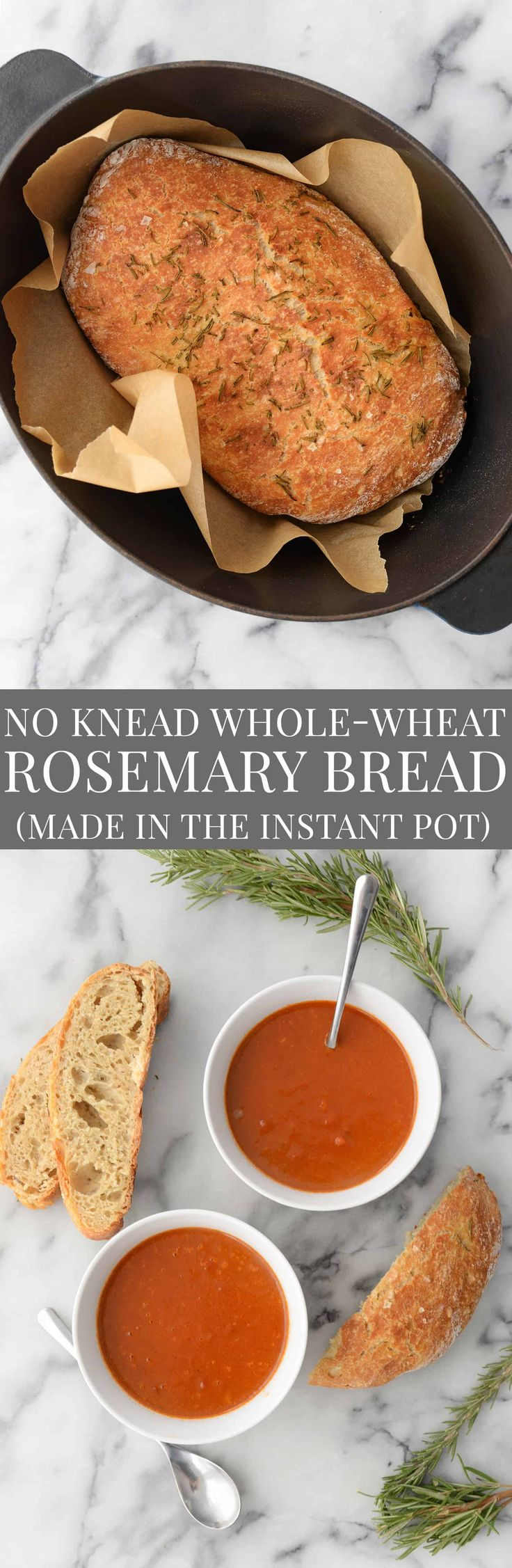 No Knead Whole Wheat Rosemary Bread made in the Instant Pot