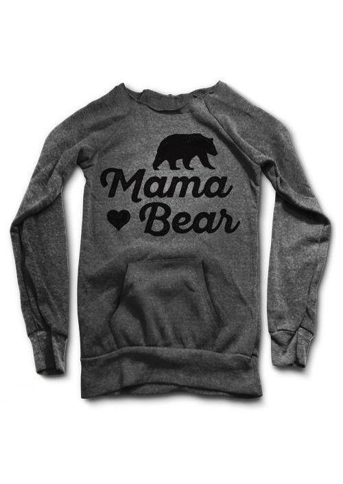 MAMA BEAR Printed Kangaroo Pocket Sweatshirt - Fairyseason
