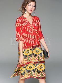 Ethnic V-neck Print Silk Shift Dress