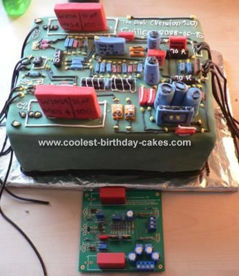 Circuit Board Birthday Cake: I was inspired by the circuit board designs on this site, and made this cake for my fiance's birthday. He builds high-end audio as a hobby, and I based