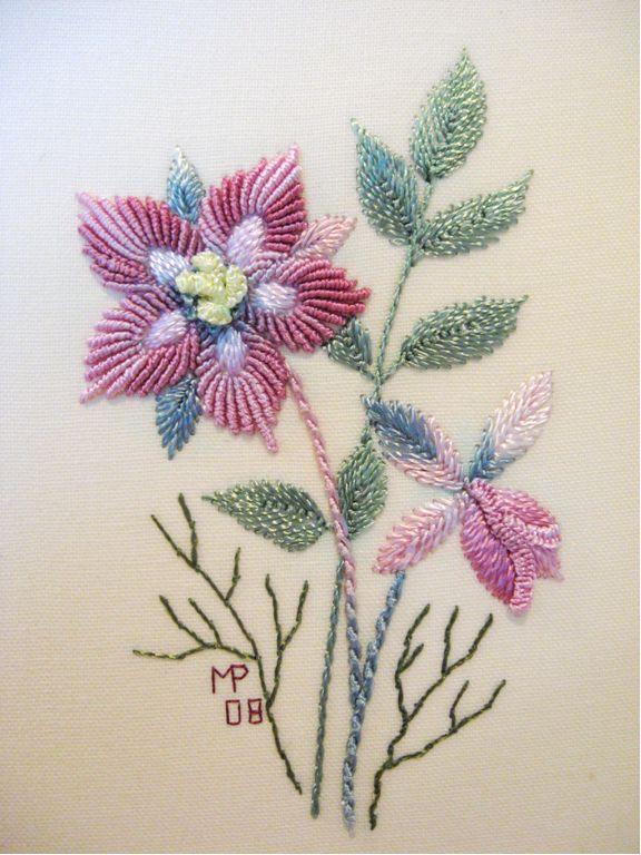 Christmas Rose; looks like fun bullion stitch.  This was a Design-of-the-month from Brazilian Dimensional Embroidery, I think, but I haven't found it yet.  It is not in their free section.