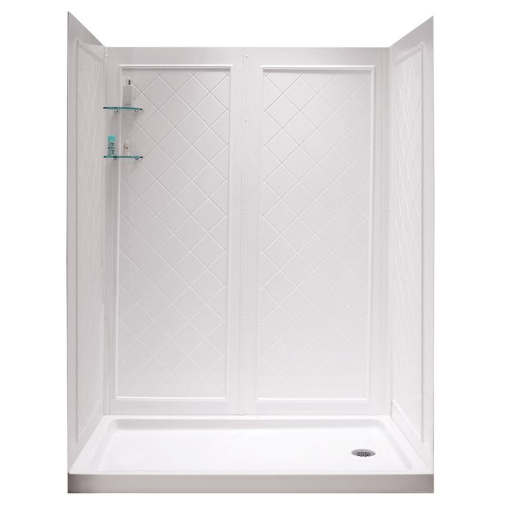 DreamLine Shower Base and Back Walls White Acrylic Wall Acrylic Floor 2-Piece Alcove Shower Kit (Common: 36-in x 60-in; Actual: 76.75-in X