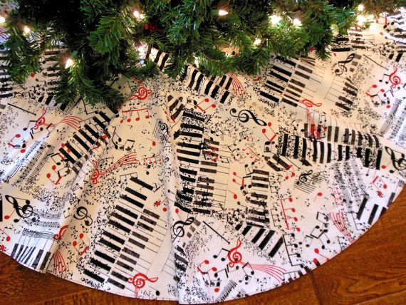 Music Themed Christmas Ornaments.Music Tree Skirt Christmas Tree Skirt Musical By