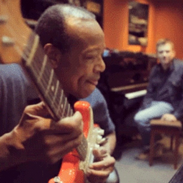 Bobby Womack in the studio with Damon Albarn - @xlrecordings- #webstagram