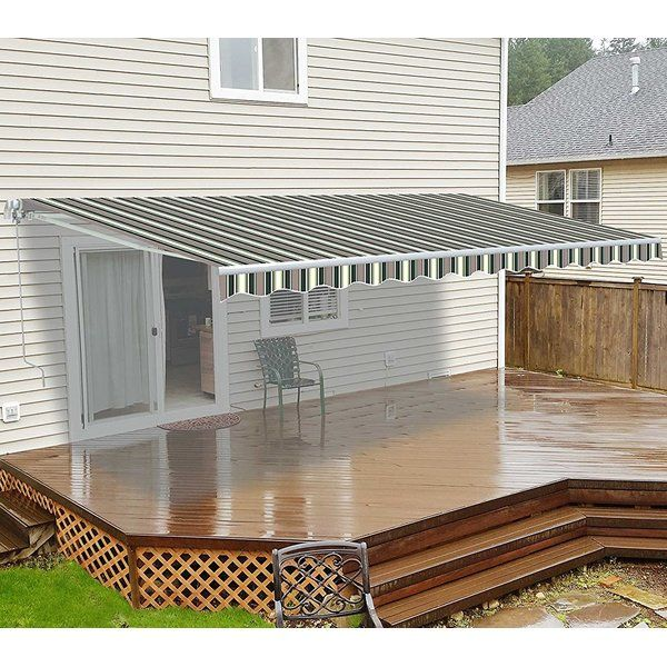 Aleko awning is the first choice of most home owners who choose a manually-operated awning, because for just low cost, giving you up to 80 square feet more coverage and protection! This model requires no electricity. It opens and closes easily in less than a minute, using a simple hand crank that operates smoothly and quietly. It even comes with pre-drilled holes to make accessory attachment a breeze. Excellent sun and rain protection. All in all, a terrific value!