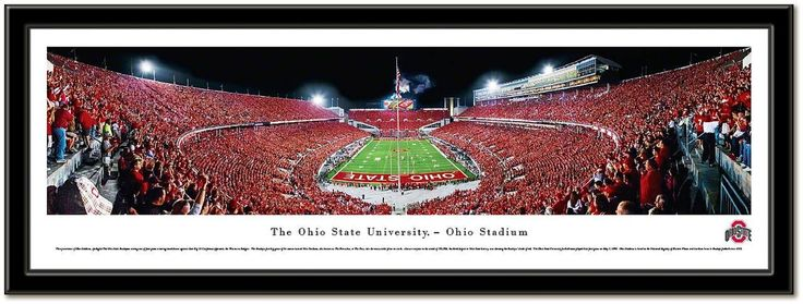 """Ohio State Buckeyes Football-Pictures-Quotes-Frames-Posters-All With OSU Logo-Ohio Stadium Pictures-The Horseshoe """"The Shoe"""" Pictures And Photographs. NCAA College Stadium Framed Pictures.Scarlet And Gray OSU Photos. Ohio State Buckeyes Football Sports Panorama Photo.Sports Art. Script Ohio panoramic photo of Ohio Stadium during the """"Scarlet Out"""" night game Ohio State vs Wisconsin, September 30, 2013. OSU football art comes framed and ready to hang in your Buckeye room!"""