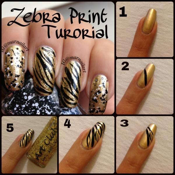 Zebra Print Nail Tutorial By Marisol Ig Gold Glitter And Animal What More Could You Want Create These Easy Fun Nails With This Step How