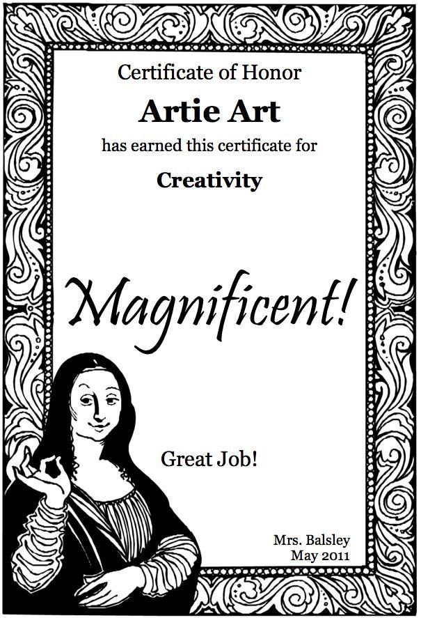 14 best art award images on pinterest award certificates art free printable certificates yelopaper Gallery