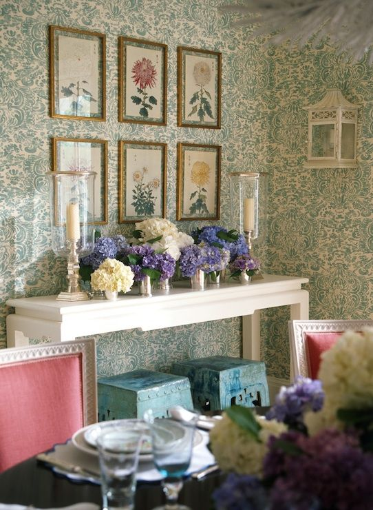 Suzie: Ashley Whittaker Design - Chinoiserie dining table with ivory & teal blue damask ...