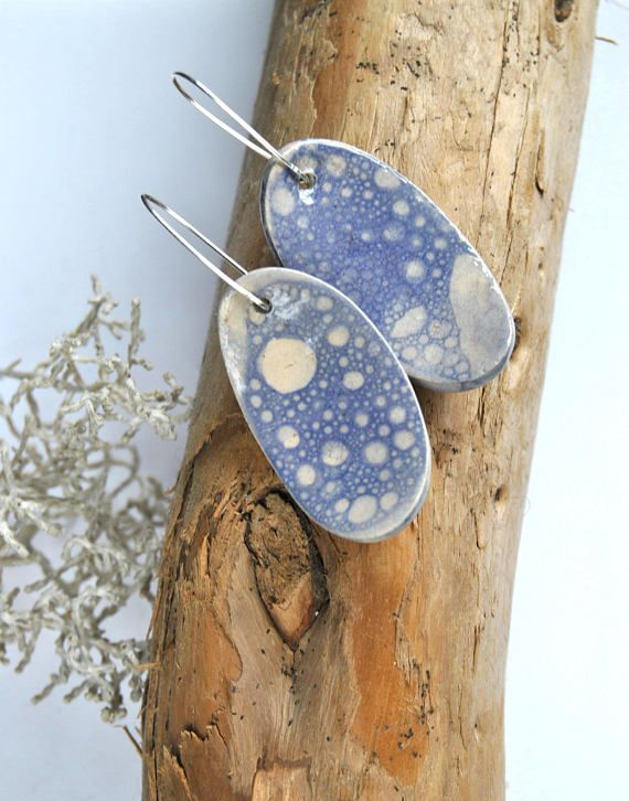 Modern rustic ceramic earrings, light blue bubble glaze