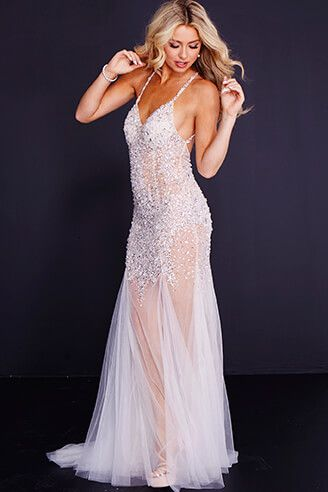 699d22345d0 JVN 48761 Silver Nude. Sheer embellished Tulle w Plunging V-neck and X open  back bodice  Sheer Tulle bottom