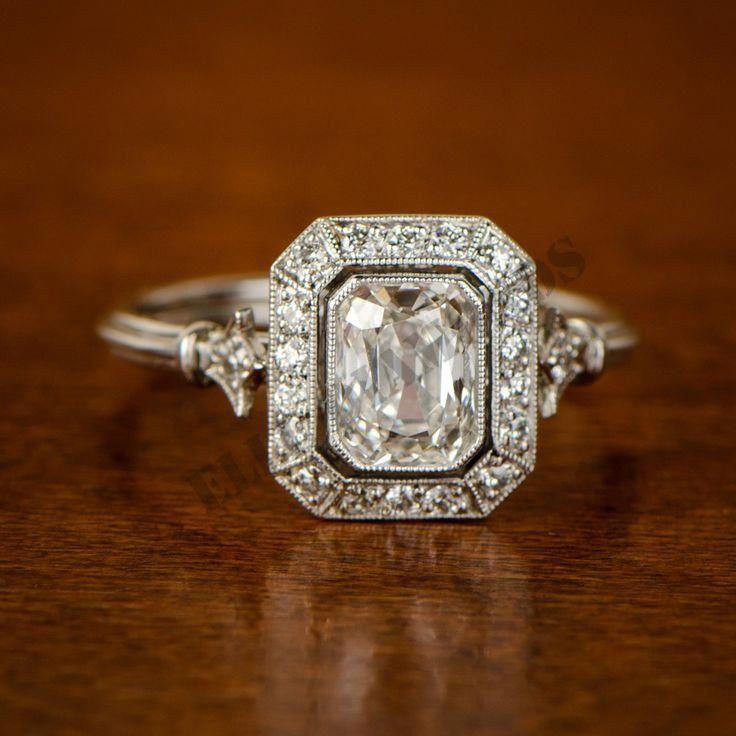 unique design 14k white gold over 2ct round diamond radiant vintage wedding ring #ElleDiamond #SolitairewithAccentsRing #Engagement #vintagerings