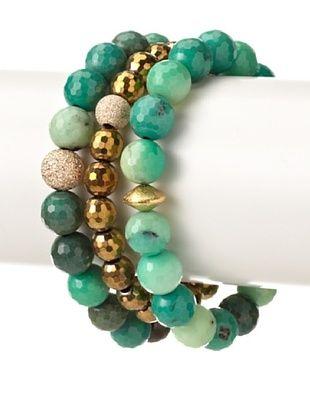 67% OFF Sisco + Berluti Green Agate & Gold Pyrite Bracelet Stack