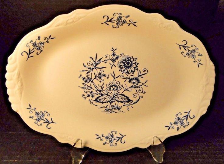 "Homer Laughlin Virginia Rose Dresden Imperial Blue Platter 11 1/2"" EXCELLENT! #HomerLaughlin"