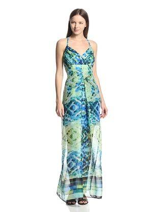 56% OFF Marc New York Women's Halter Maxi Dress (Green Multi)