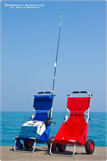 Blue folding beach chair fishing cooler dolly wagon cart for Folding fishing cart