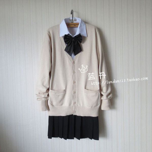 Online Shop Japanese school uniform knit jacket female JK uniform soft... ❤ liked on Polyvore featuring tops, cardigans, knit tops, cardigan top and knit cardigan