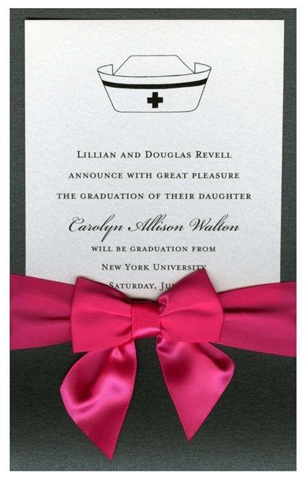 Nurse Cap Ebony Pocket with Crystal Card and Shocking Pink Bow