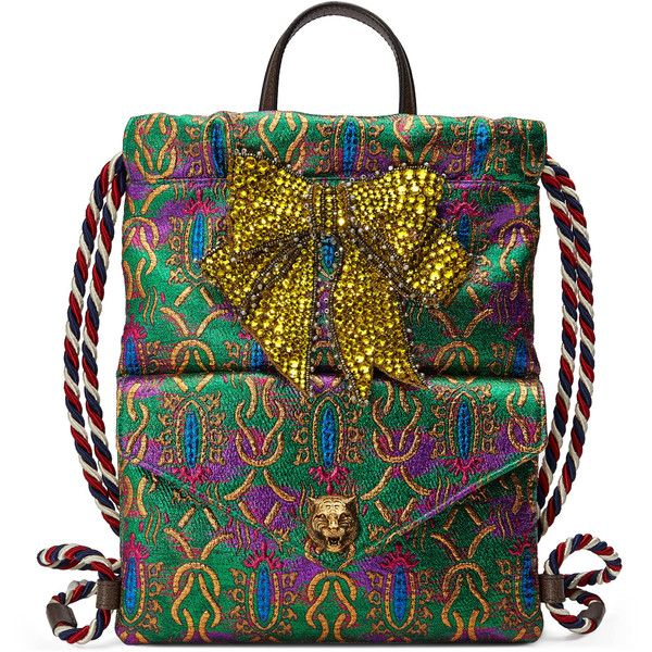 Gucci Crystal Bow Brocade Drawstring Backpack ( 1,790) ❤ liked on Polyvore  featuring bags, 50a6499920
