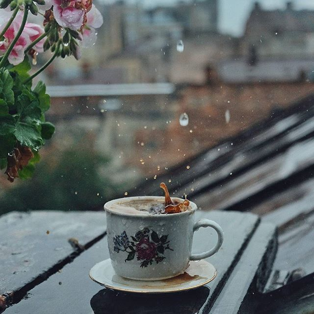 It's rainy in Chernivtsi coffee cup roof top view rain
