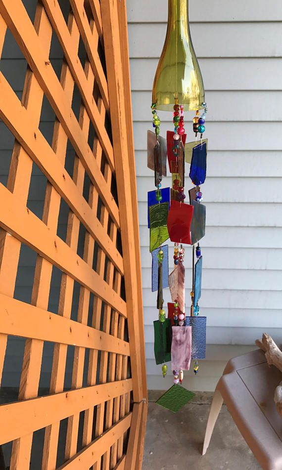Wind Chime Sun Catcher Stained Glass Up-cycled Wine Bottle